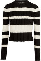 Proenza Schouler Striped Wool, Silk And Cashmere-blend Sweater - Black