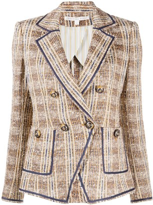 Veronica Beard Woven Double-Breasted Angular Blazer