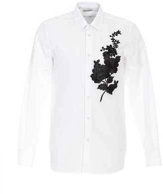 Alexander McQueen Floral Embroidered Formal Shirt