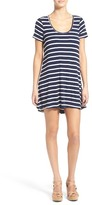 Lovers + Friends Knot Yours Stripe Cover-Up T-Shirt Dress