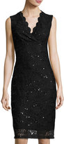Neiman Marcus Sequined Lace Fitted Dress, Black