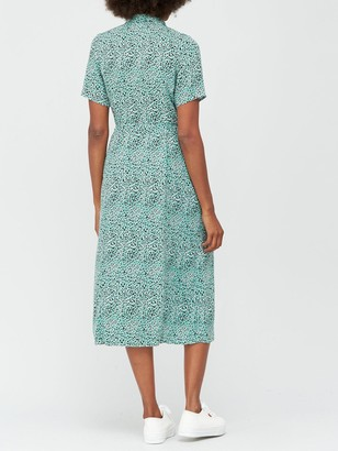 Very Printed Short Sleeve Shirt Dress - Print