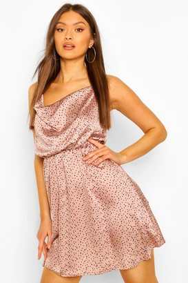 boohoo Polka Dot Cowl Neck Skater Dress