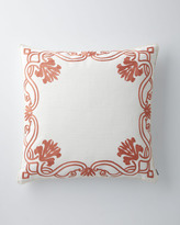 """Horchow Pillow with """"French Scroll"""" Border, 25""""Sq."""