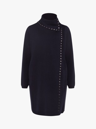 Phase Eight Paloma Studded Knit Coat, Navy