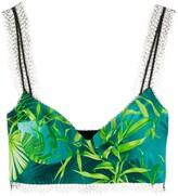 Versace botanical-print bralette top
