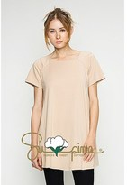B-Sharp Collection Supima Cotton Round Neck Tunic Casual Short Sleeve Trapeze Style Tunic.