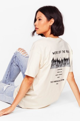Nasty Gal Womens We're Off the Road Graphic Tee - Sand