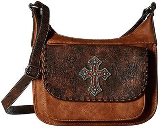 M&F Western Harper Conceal Carry Shoulder Bag (Medium Brown) Handbags