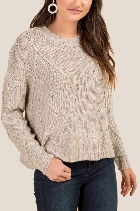 francesca's Rachel Scoop Neck Sweater - White