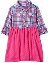 Nannette Toddler Girl Plaid Top Textured Dot Skirt Dress