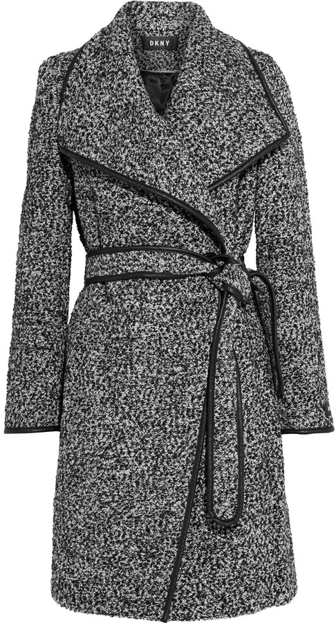 DKNY Belted Faux Leather-trimmed Boucle Coat