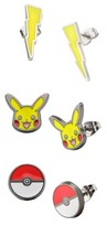 Pokemon Stainless Steel Pikachu, Lightning Bolt and Poké Ball Stainless Steel Stud Earrings Set