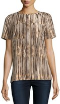 MICHAEL Michael Kors Striped Pocket Tee, Black/Multi