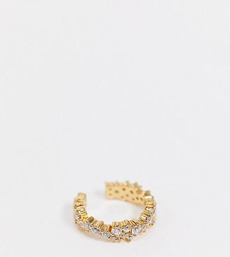 Orelia ear cuff in crystal cluster gold plate