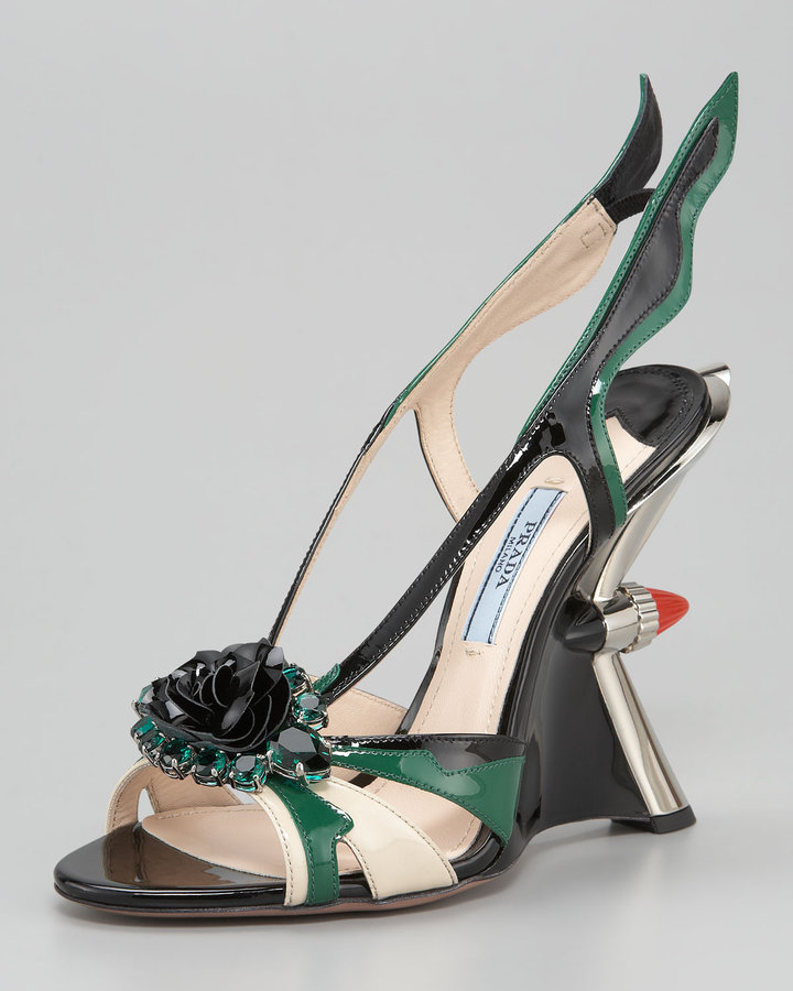 Prada Jewel-Toe Taillight Wedge Sandal