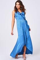 Girls On Film Glory Blue Animal-Print Satin Frill Maxi Wrap Dress