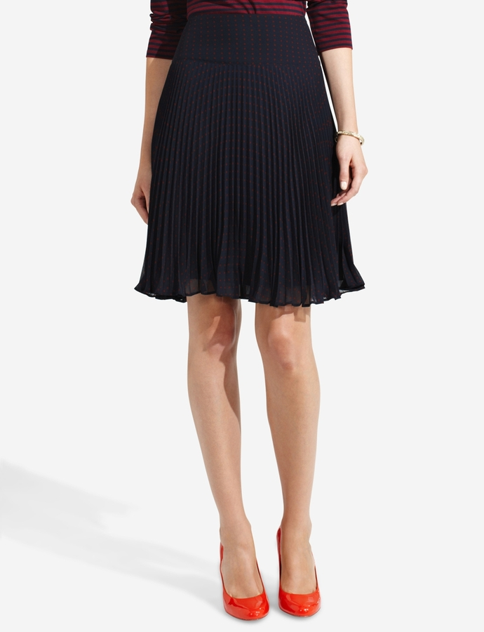 The Limited Pleated Polka Dot Skirt