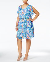 Love Squared Trendy Plus Size Flutter-Sleeve Printed Dress