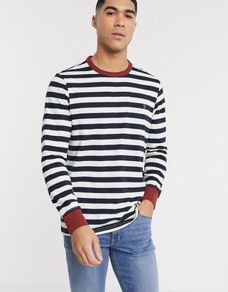 Farah Belgrove stripe logo long sleeve t-shirt in burnt red