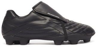Balenciaga Soccer Logo-print Quilted Faux-leather Trainers - Black White