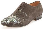 Maison Margiela Paint-Splatter Laceless Oxford Shoe, Charcoal