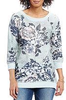 Eyeshadow Floral Printed 3/4 Sleeve Tunic