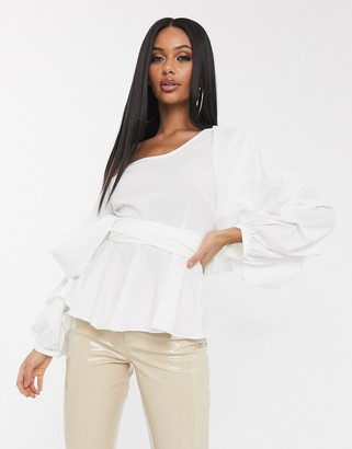 Bardot Koco & K gathered wrap blouse with exaggerated sleeve in white