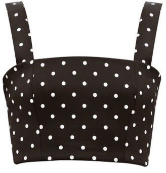Balmain Polka-dot Cropped Jersey Top - Womens - Black White
