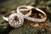Etsy Ena 6mm/0.80 Carats Round Cut Morganite 14k Rose Gold Diamond Halo Engagement Ring with Sally Half D
