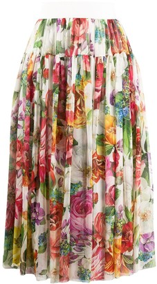 Dolce & Gabbana Floral-Print Pleated Skirt