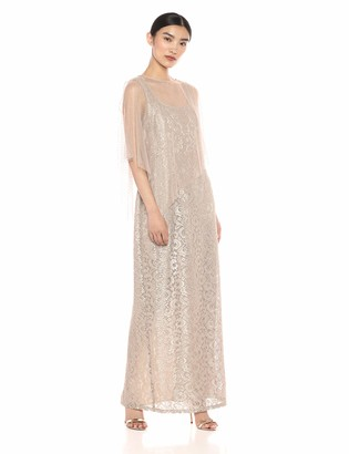 Ignite Women's Sequin Lace Beaded Cape Gown