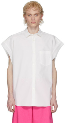 Fumito Ganryu White Poplin Sleeveless Shirt