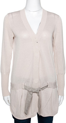 Brunello Cucinelli Beige Knit Belted Button Front Cardigan XL