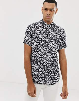 Emporio Armani slim fit all over logo short sleeve shirt in navy-White