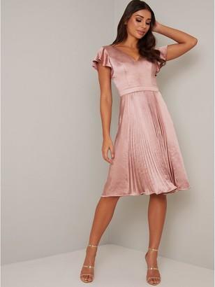 Chi Chi London Ruella Satin Dress - Mink
