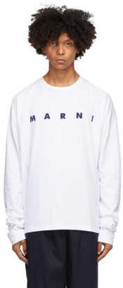 Marni White Light Cotton Front Logo Long Sleeve T-Shirt