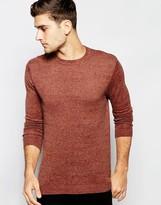 Asos Crew Neck Sweater in Rust Twist Cotton
