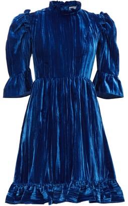 Batsheva Ruffled Plisse Cotton-velvet Mini Dress - Womens - Blue