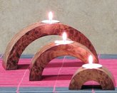 Shopping The Globe Arched Candle Holders, Set of Three - Oak