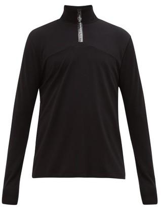 Acne Studios Ellington Logo-placket Quarter-zip Jersey Top - Mens - Black