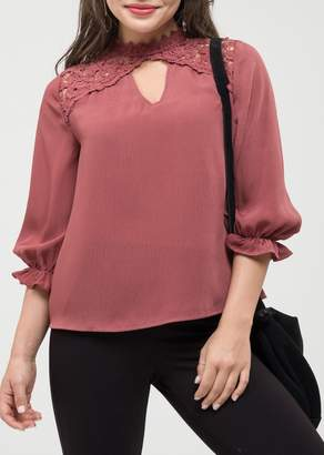 Blu Pepper Lace Neck Cutout Blouse