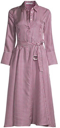 HUGO BOSS Danimala Geometric Silk Shirtdress