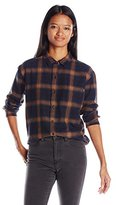 Obey Women's Montague Boyfriend Fit Oversized Plaid Flannel Shirt