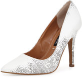 Neiman Marcus Aileen Pointed-Toe Leather Pump, Black/White
