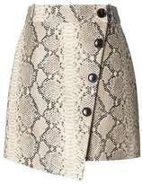 Banana Republic x Olivia Palermo   Snake-Effect Italian Leather Button-Wrap Skirt
