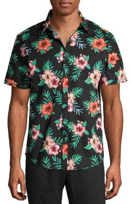 No Boundaries Men's Tropical Print Short Sleeve Button-up Shirt, up to Size 3XL