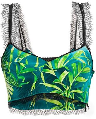Versace Jungle-Print Silk Bra Top