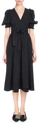 Proenza Schouler V-Neck Short-Sleeve Wrap Textured Crepe Dress