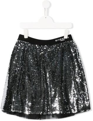 Givenchy Kids TEEN sequin-embroidered flared skirt